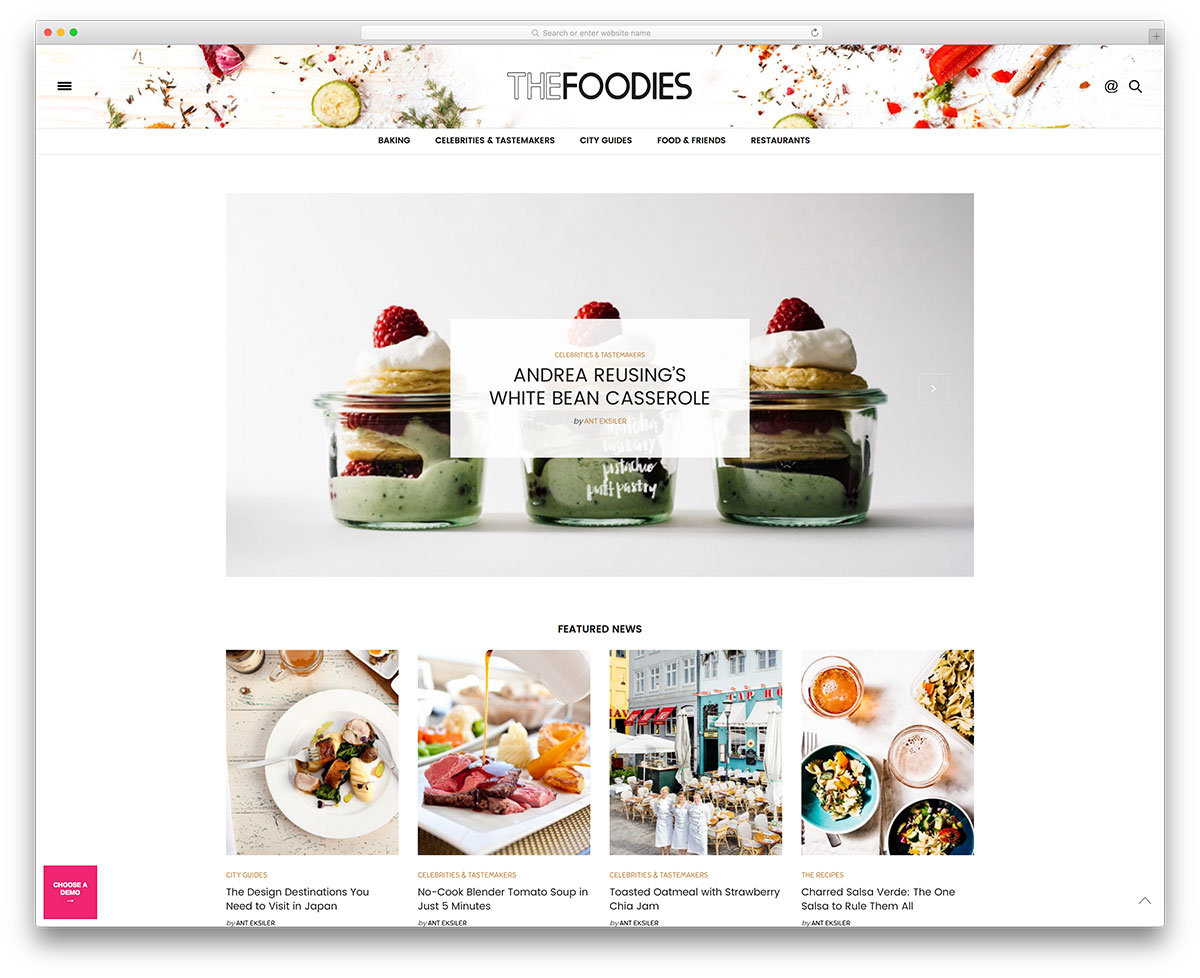 25 awesome food wordpress themes to share recipes 2018 colorlib the voux minimal food blog website template forumfinder Choice Image