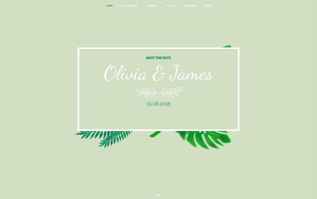 the wedding date HTML wedding website template