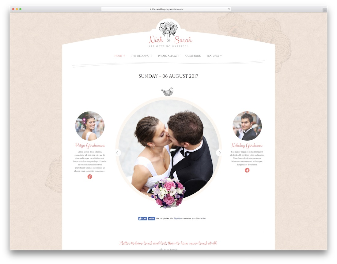 the wedding day cute wordpress theme