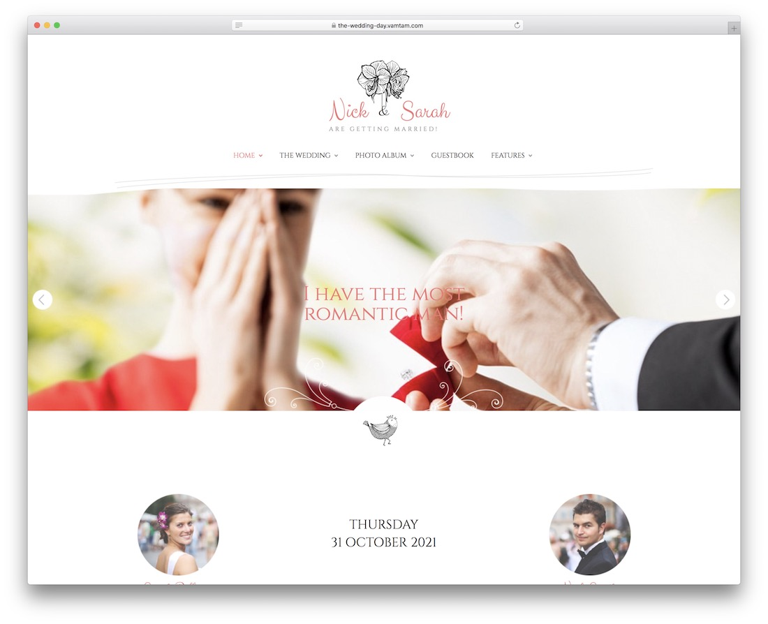 the wedding day event planner wordpress theme