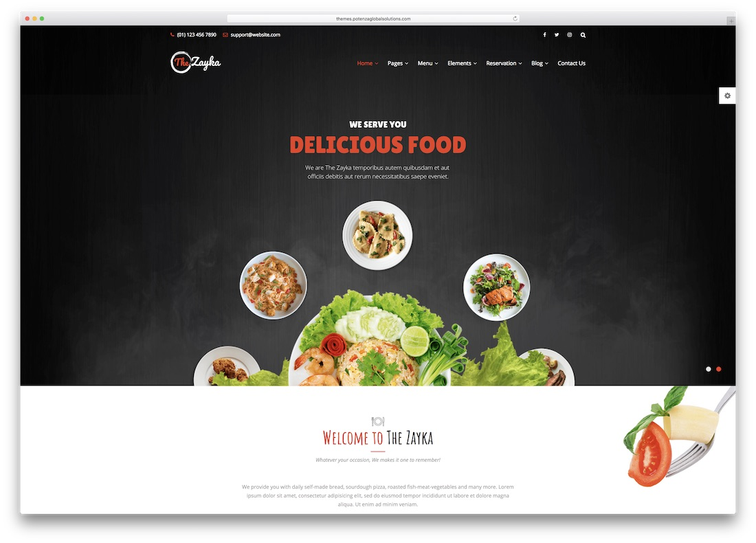 the zayka html5 website template
