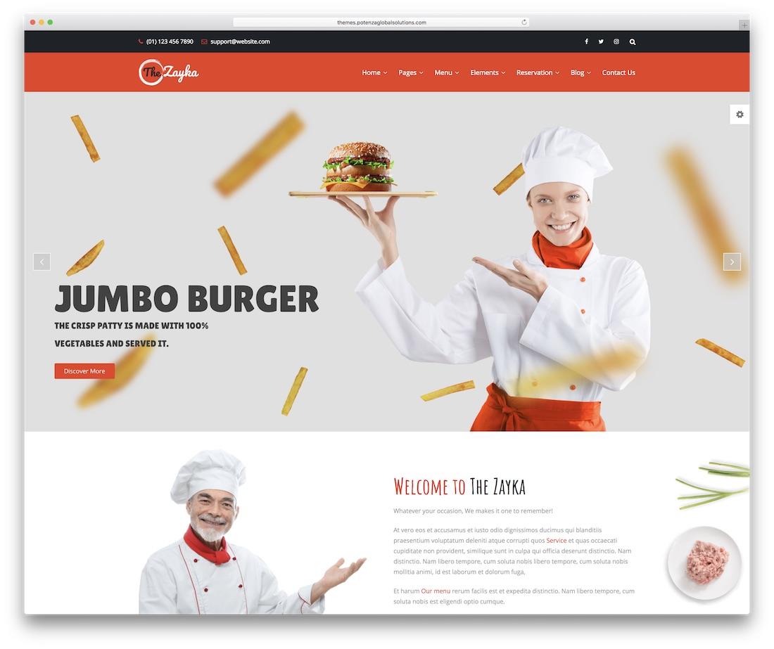 the zayka food website template