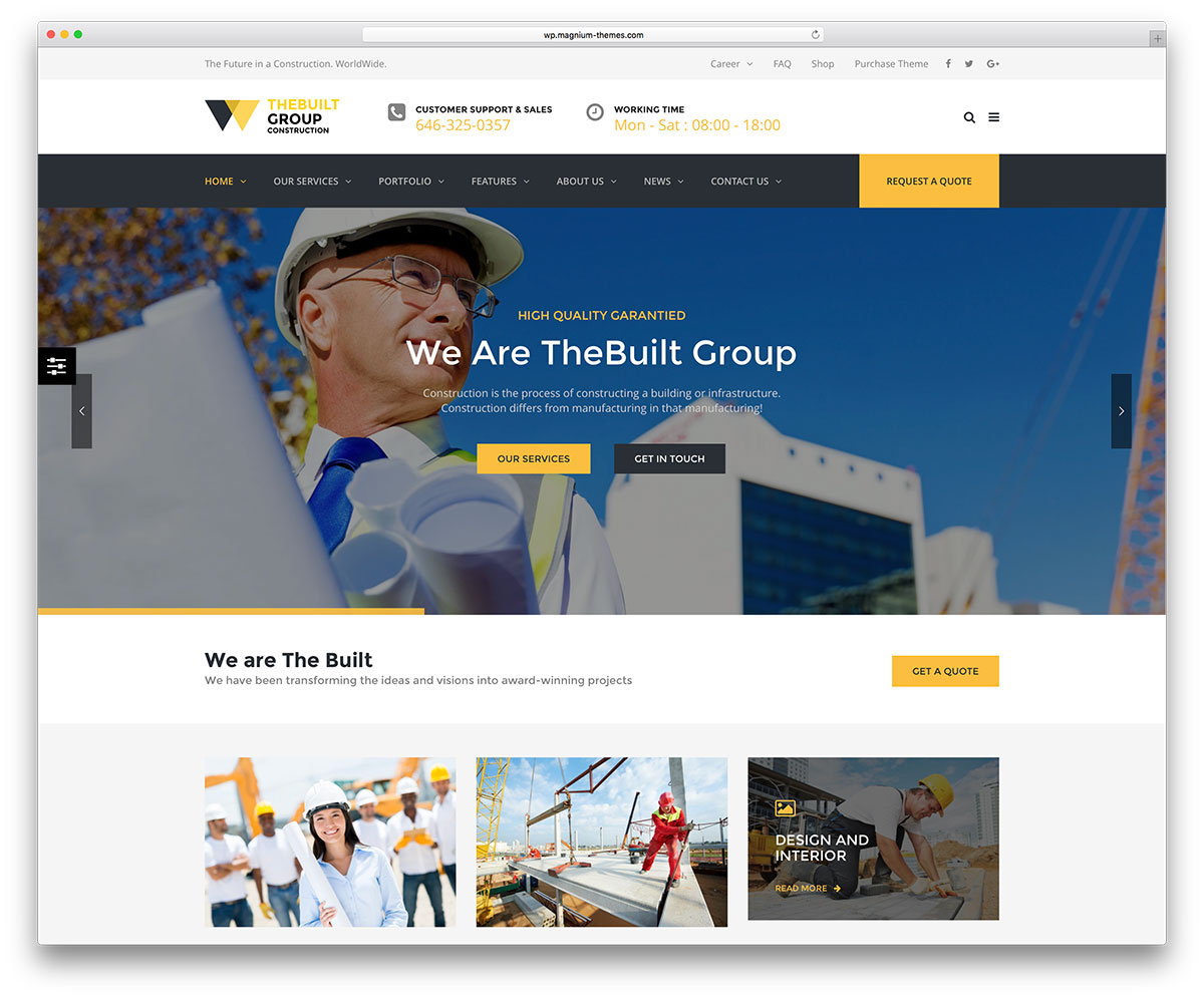 46 best construction company wordpress themes 2018 colorlib for Building design website