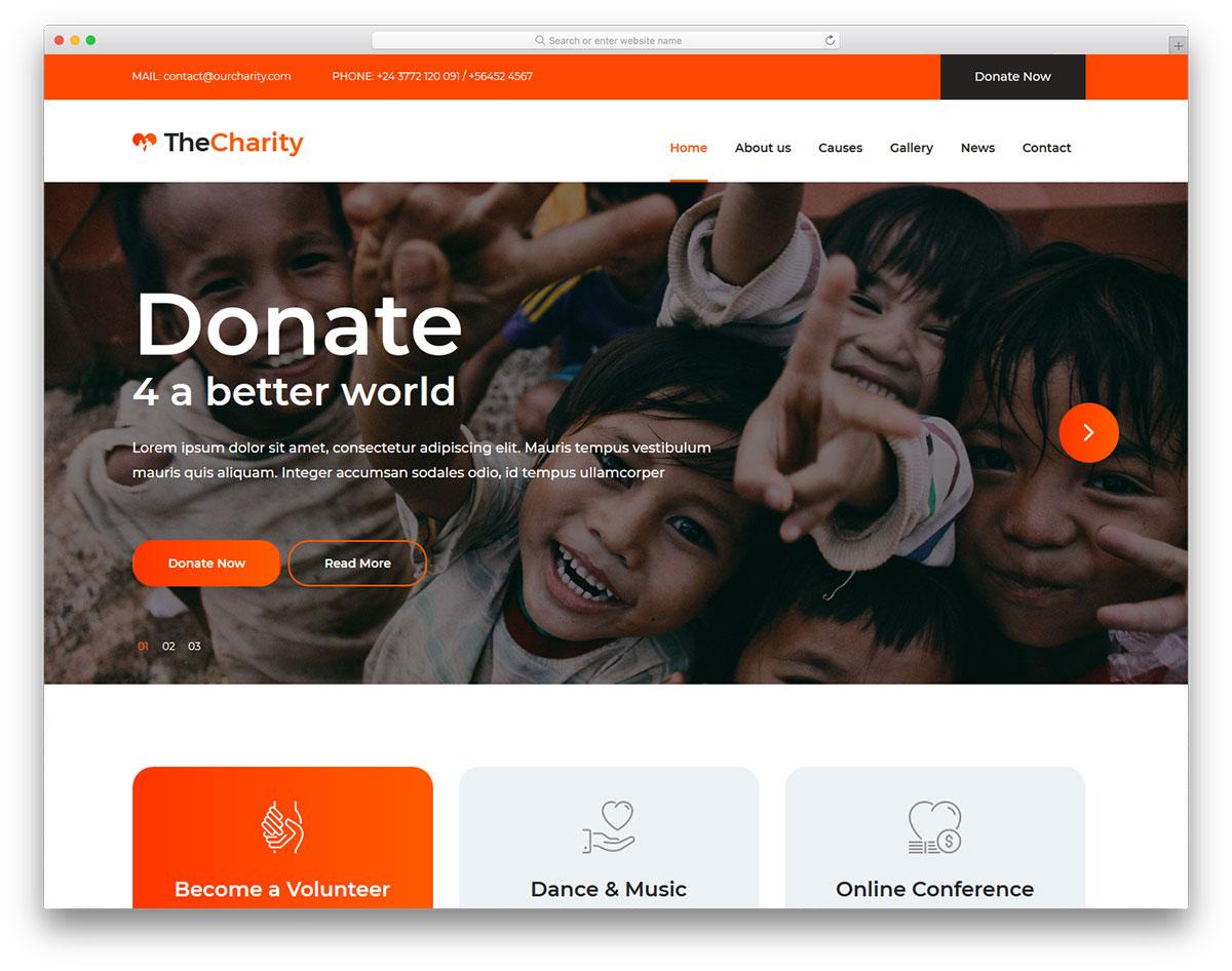 Скачать бесплатно html шаблон The Charity