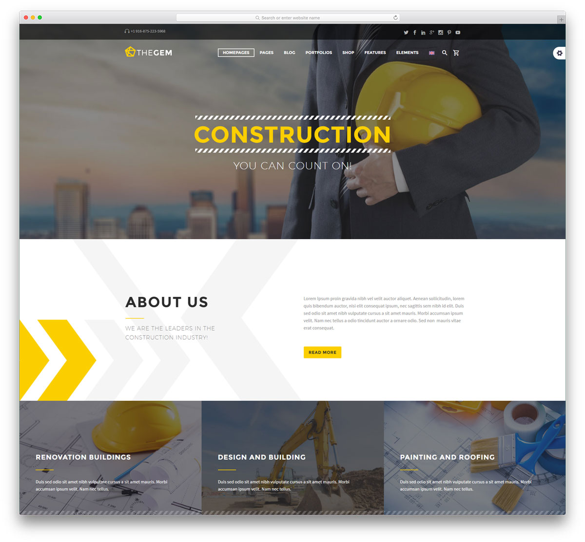 45 best construction company wordpress themes 2018 colorlib for Building design website
