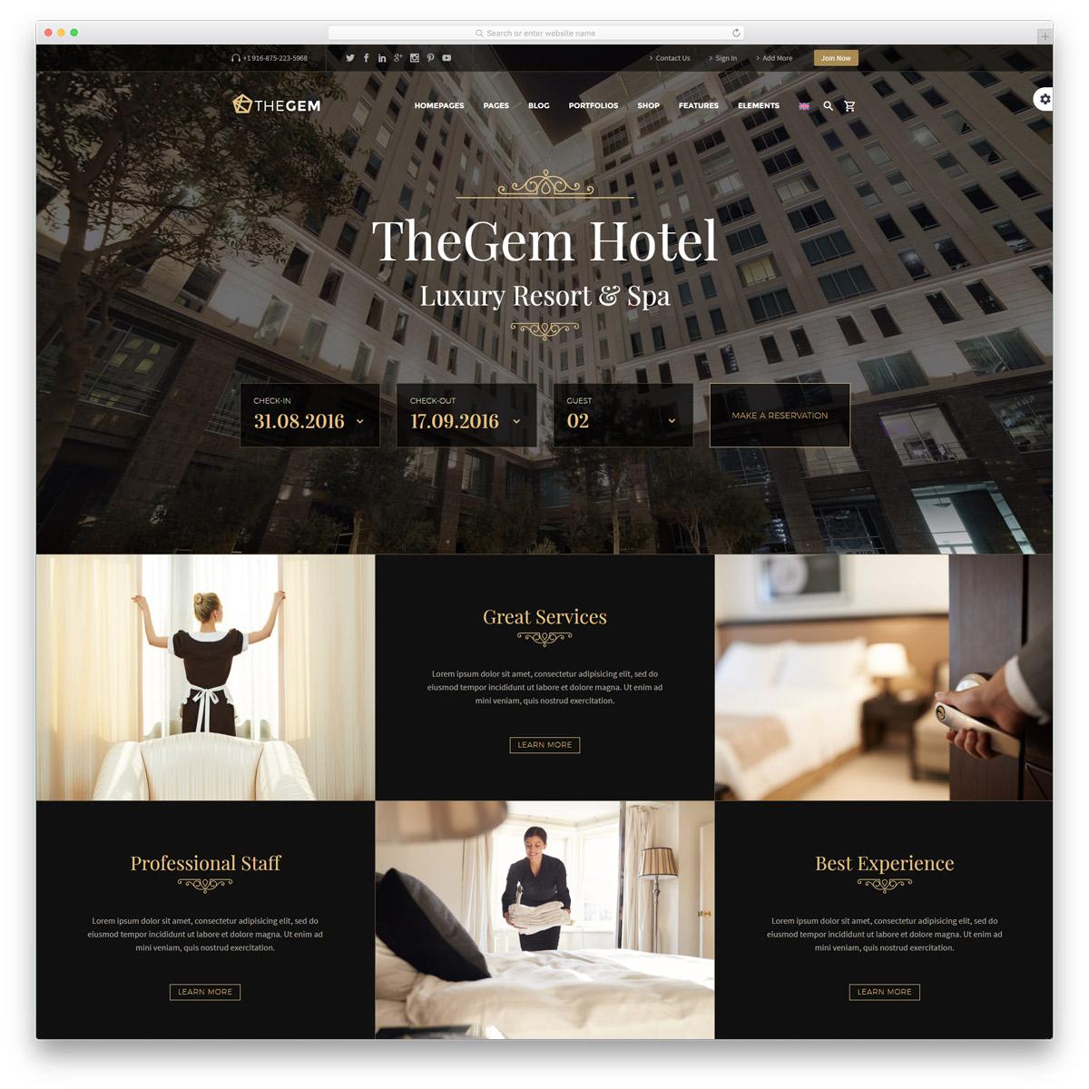 TheGem - Thème de l'hôtel polyvalent