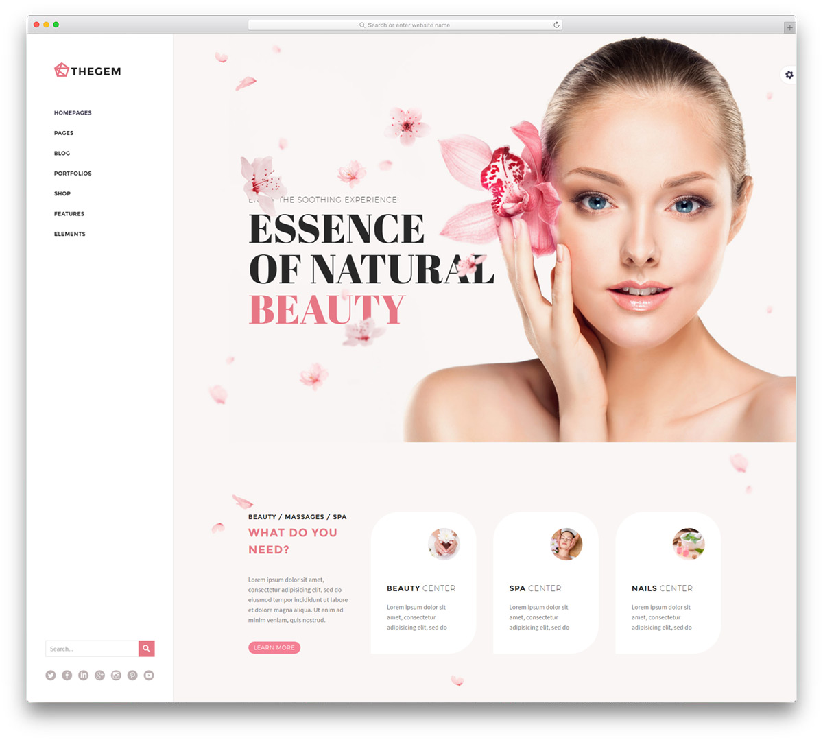 hair and beauty salon website design