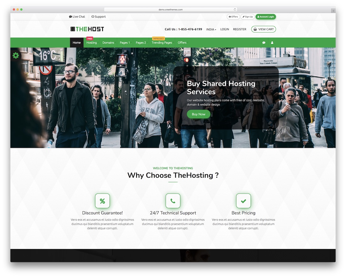 thehost web hosting website template