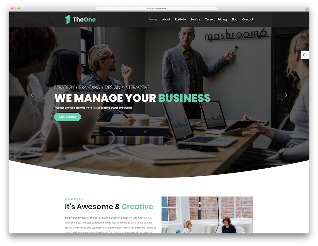 theone html5 one page website template