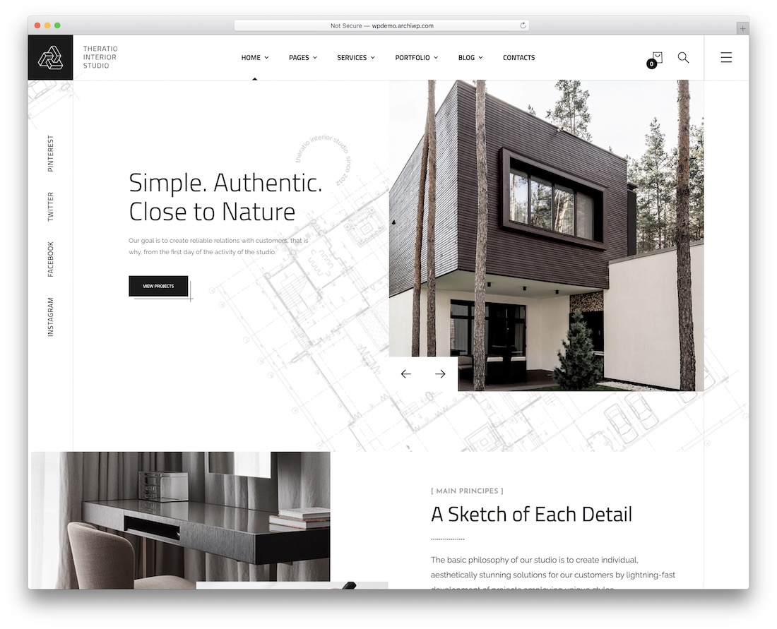 theratio wordpress theme with slider