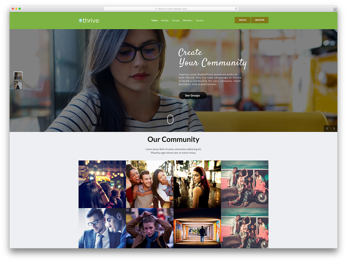 Social membership WordPress theme