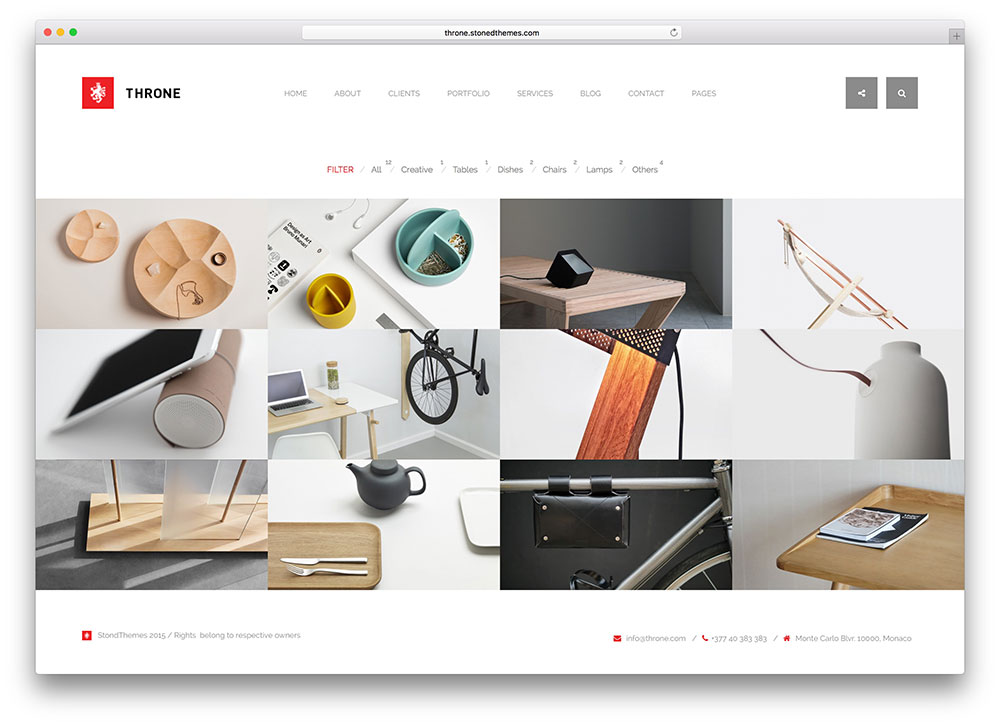 20 brilliant wordpress themes for designers 2018 colorlib for Product service design