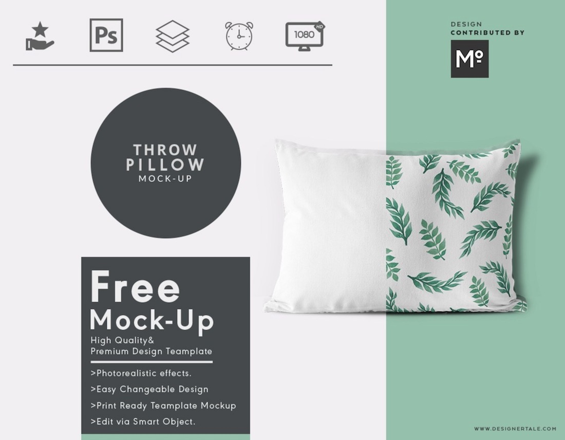 throw pillow cover psd mockup