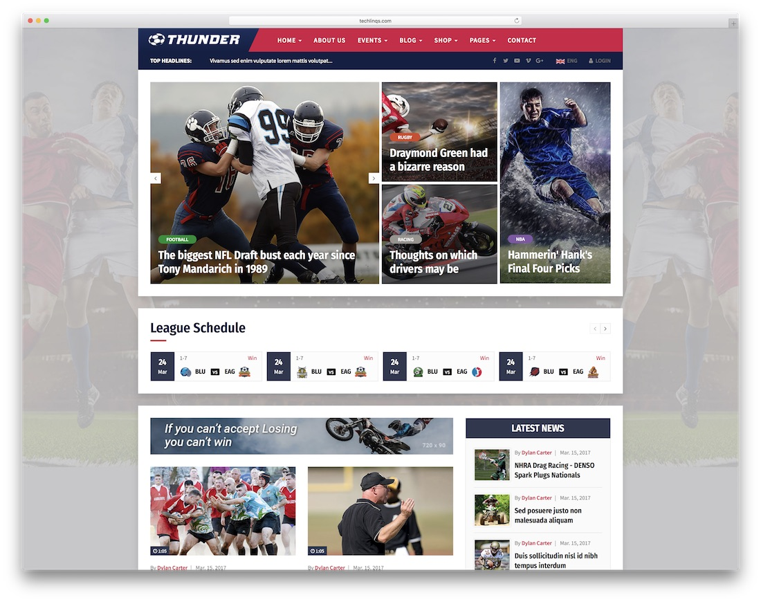 thunder community website template