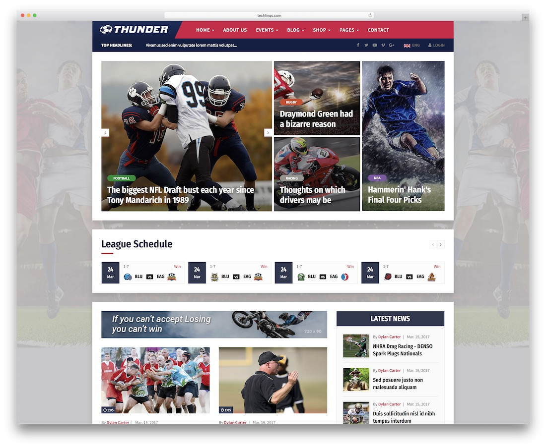 Thunder News Website Template