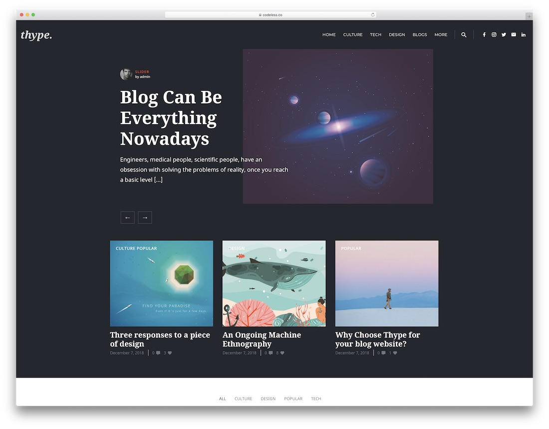 thype personal blog wordpress theme