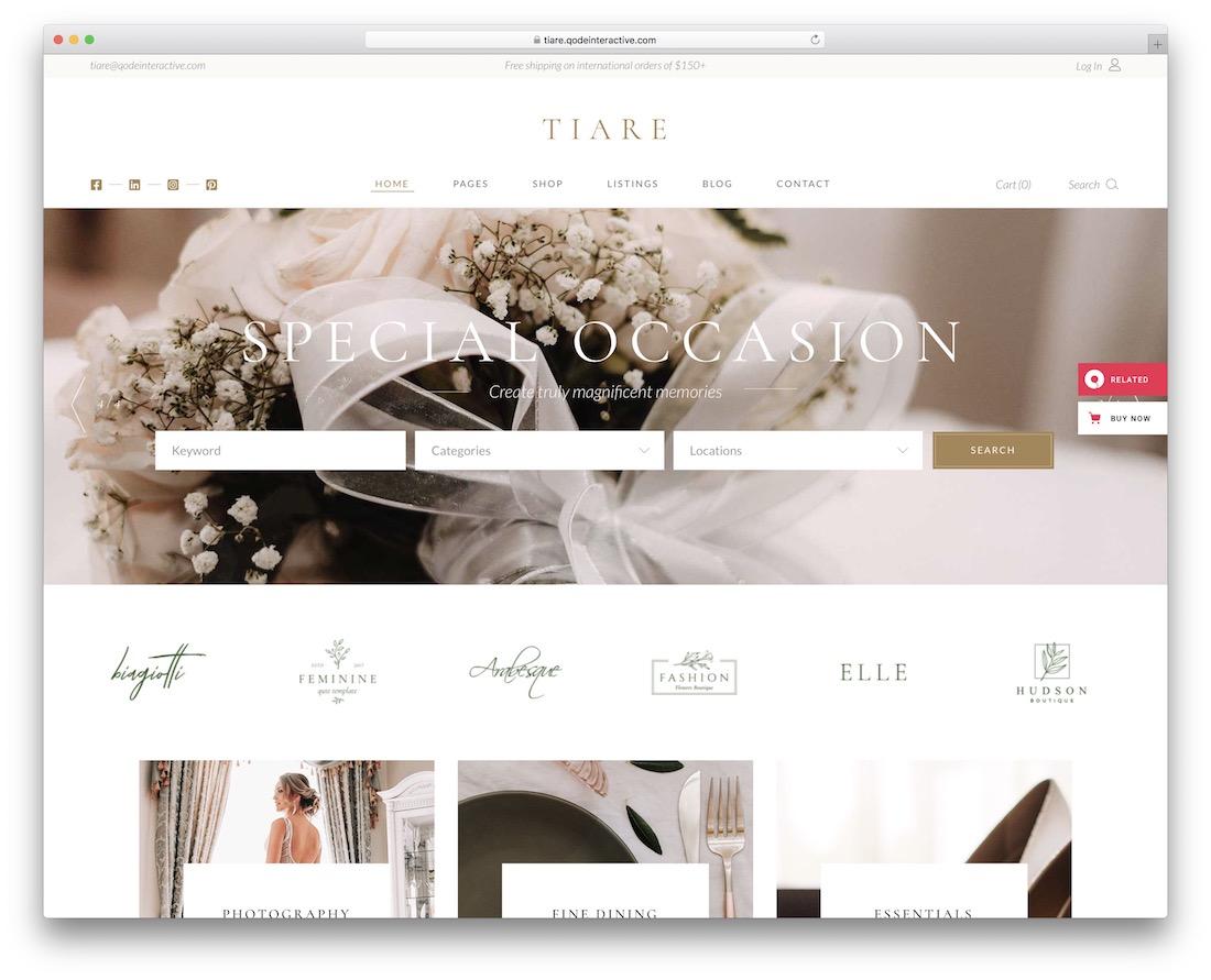 tiare wordpress wedding theme