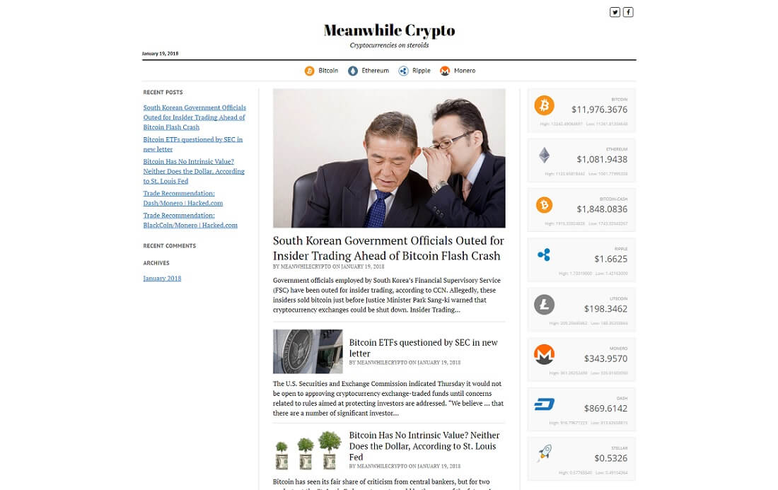 cryptocurrency ticker wordpress widget