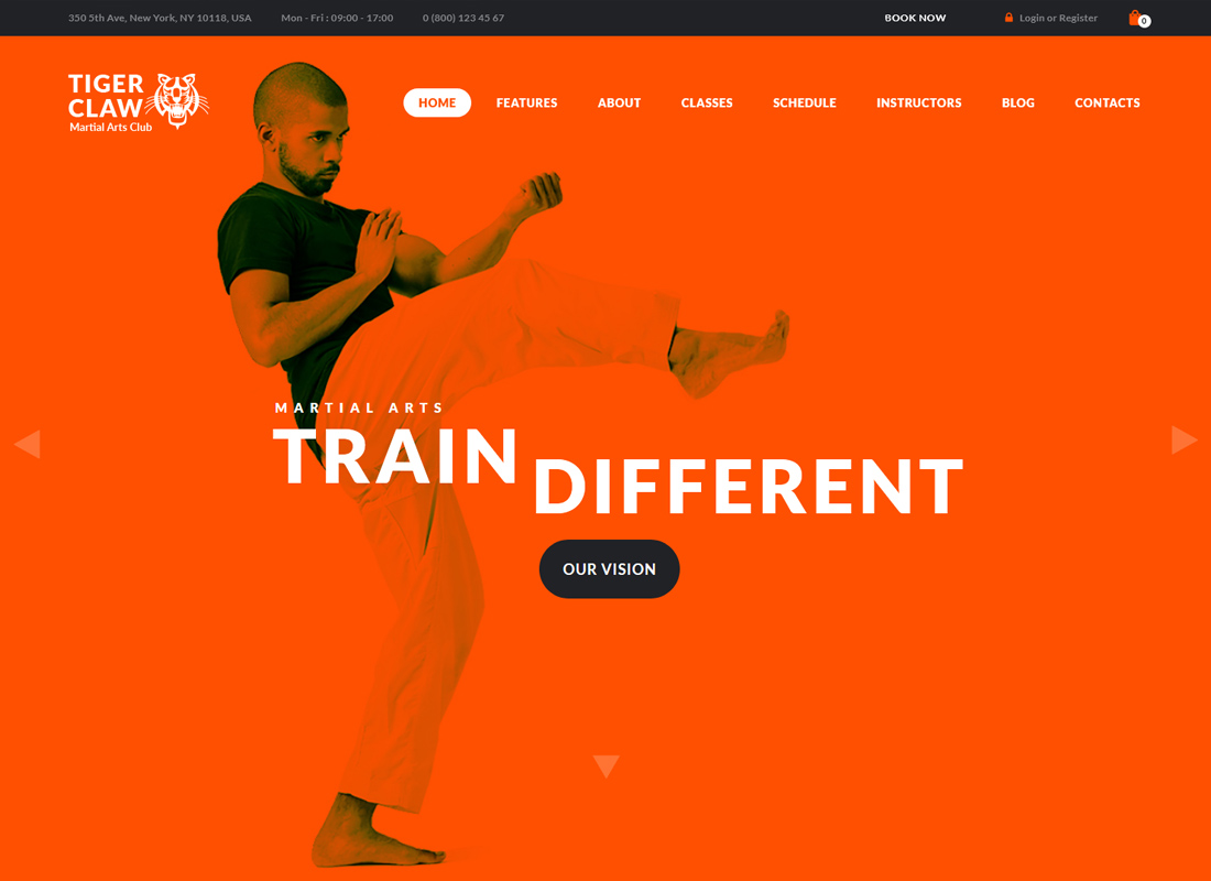 Tiger Claw - Martial Arts School and Fitness Center WordPress Theme