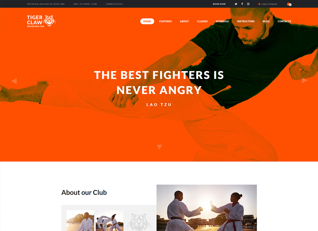 Tiger Claw | Martial Arts School and Fitness Center WordPress Theme