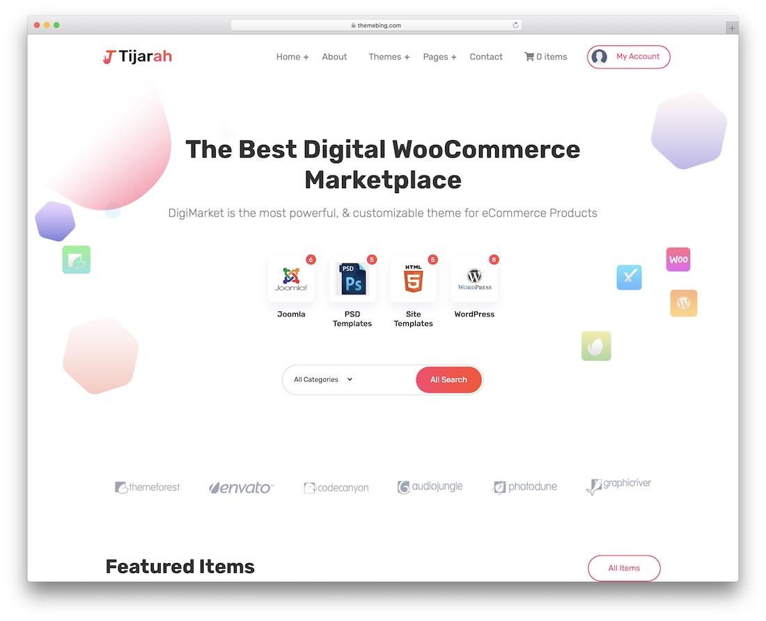 tijarah wordpress theme for selling digital products