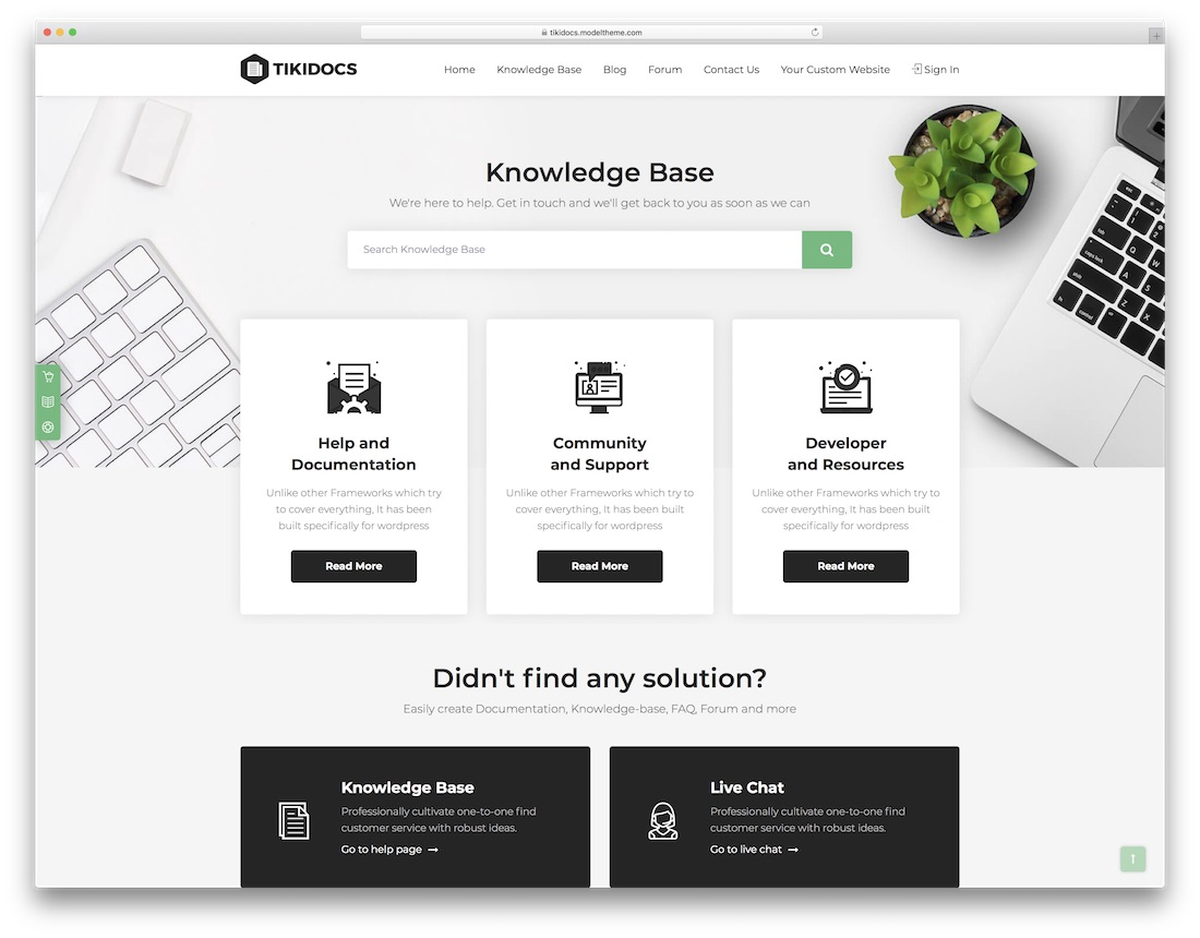 tikidocs knowledge base wiki faq support wordpress theme