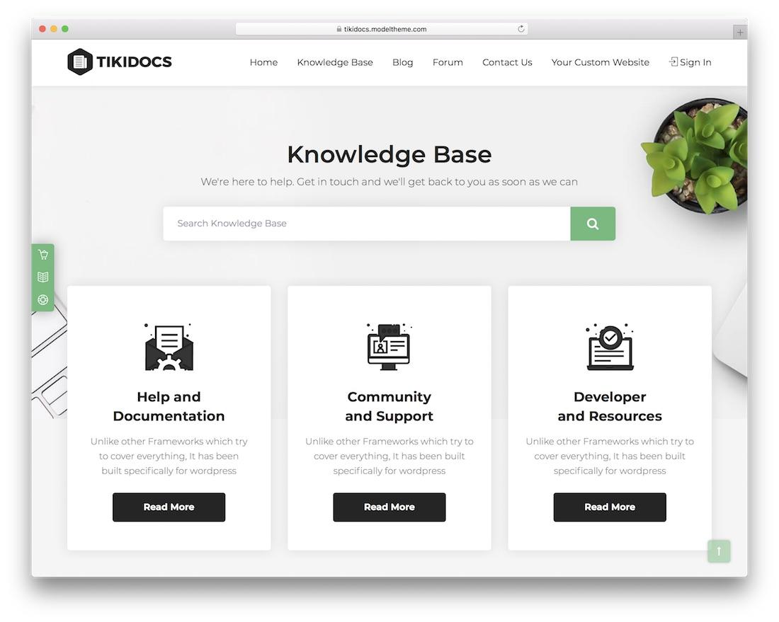 tikidocs wordpress tech support theme