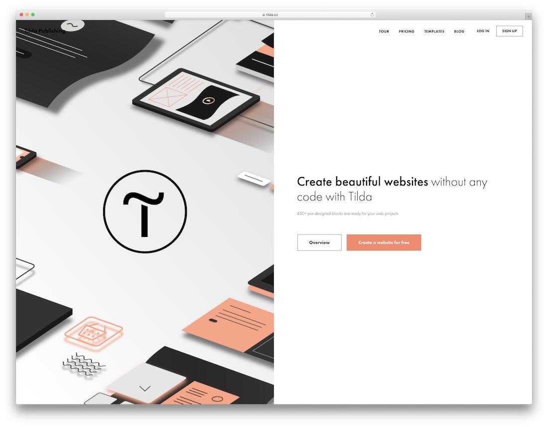 tilda free one page website builder