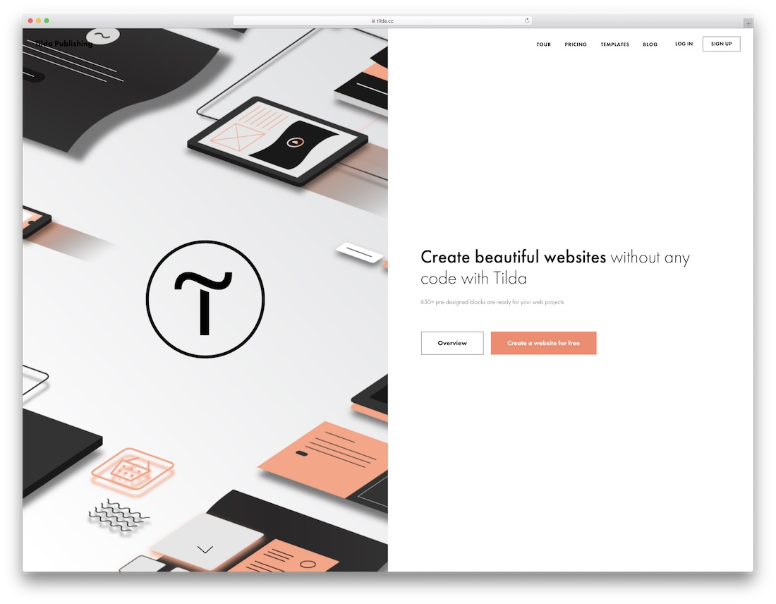 tilda free portfolio website builder