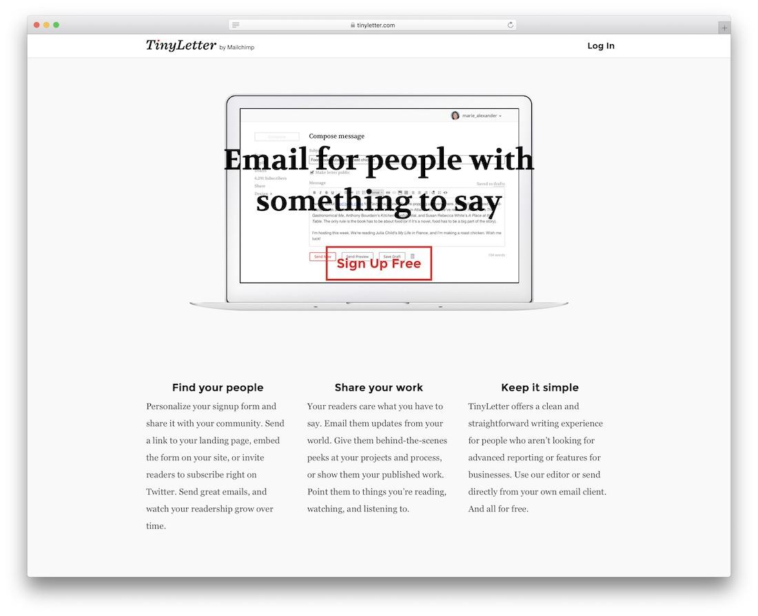 tinyletter email platform for developers