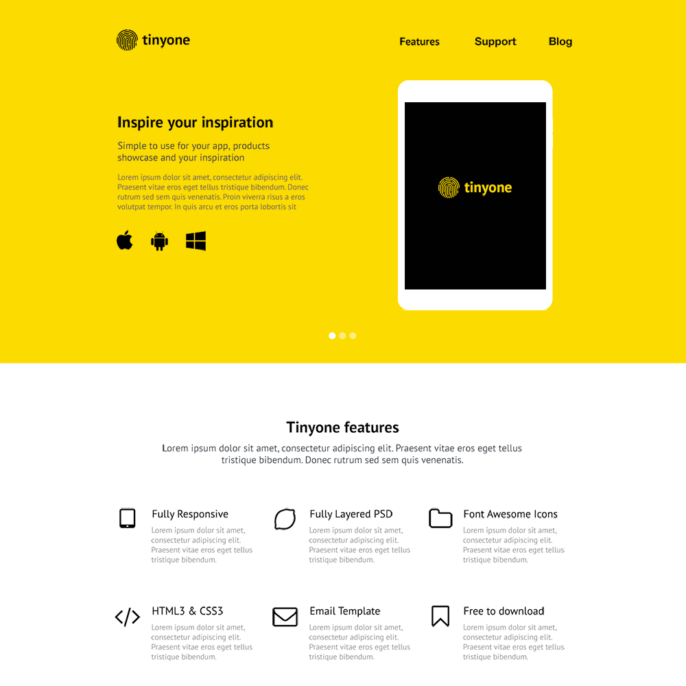 Tinyone App Free PSD Website Template