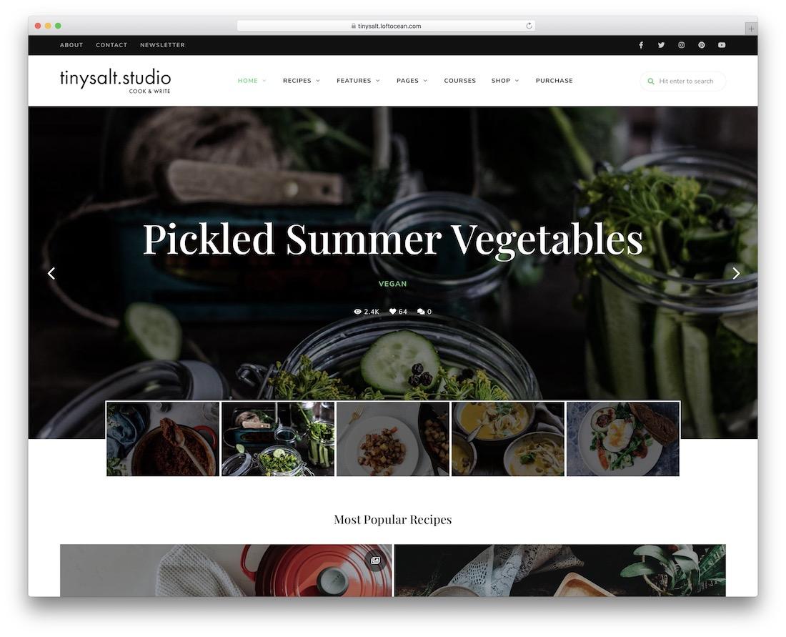 tinysalt food wordpress theme