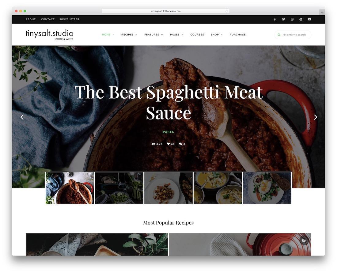 tinysalt recipe wordpress theme