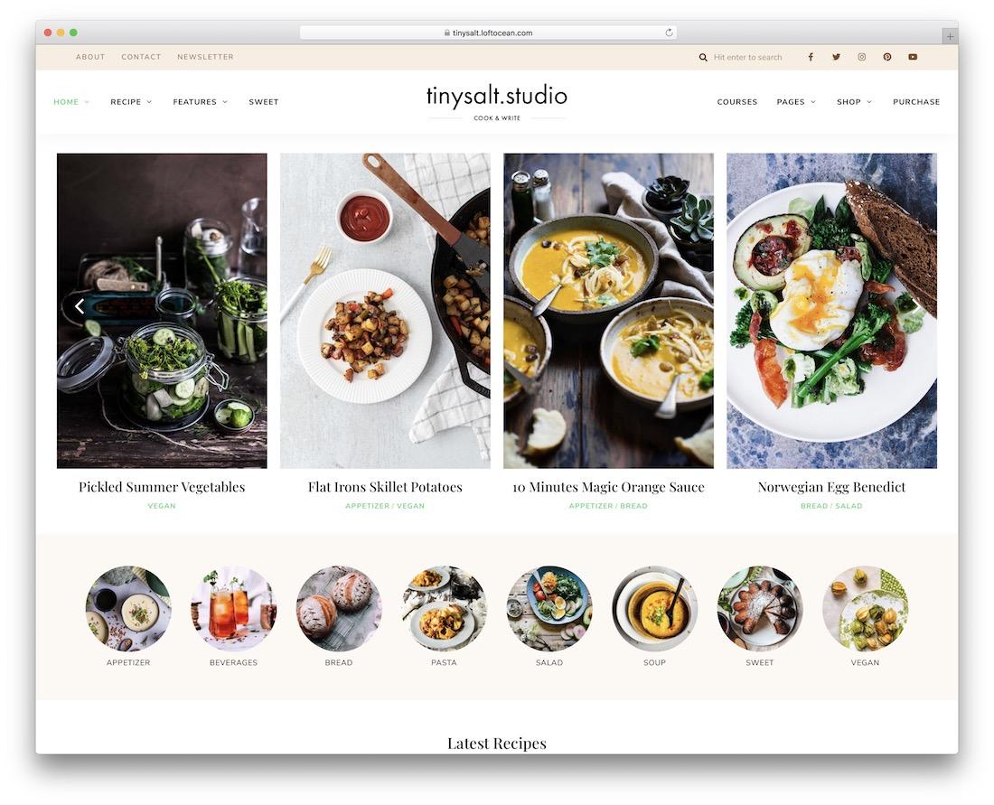tinysalt wordpress food blog theme