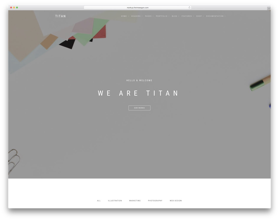 titan best free photography website template