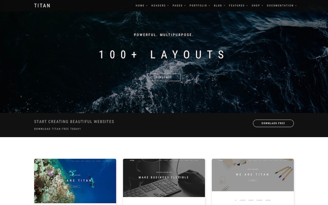 titan free photography website template
