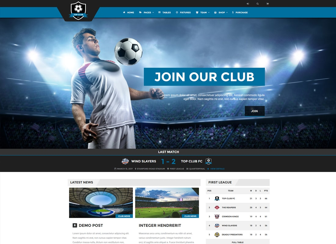 Top Club | Soccer and Football Sports WordPress Theme