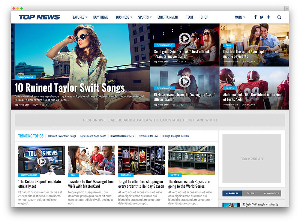 top news adsense optimized theme