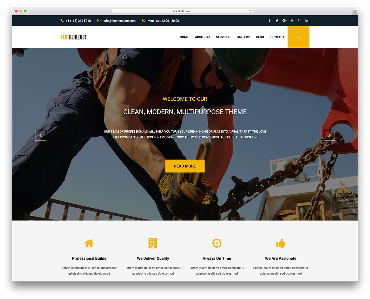 TOPBuilder Free Construction Website Templates Colorlib - Website template builder