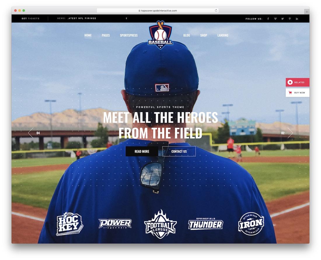topscorer baseball wordpress theme