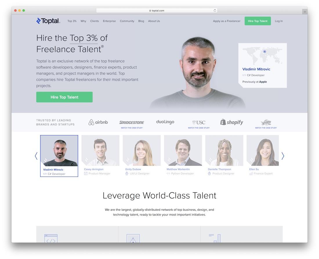 toptal tech startup job board