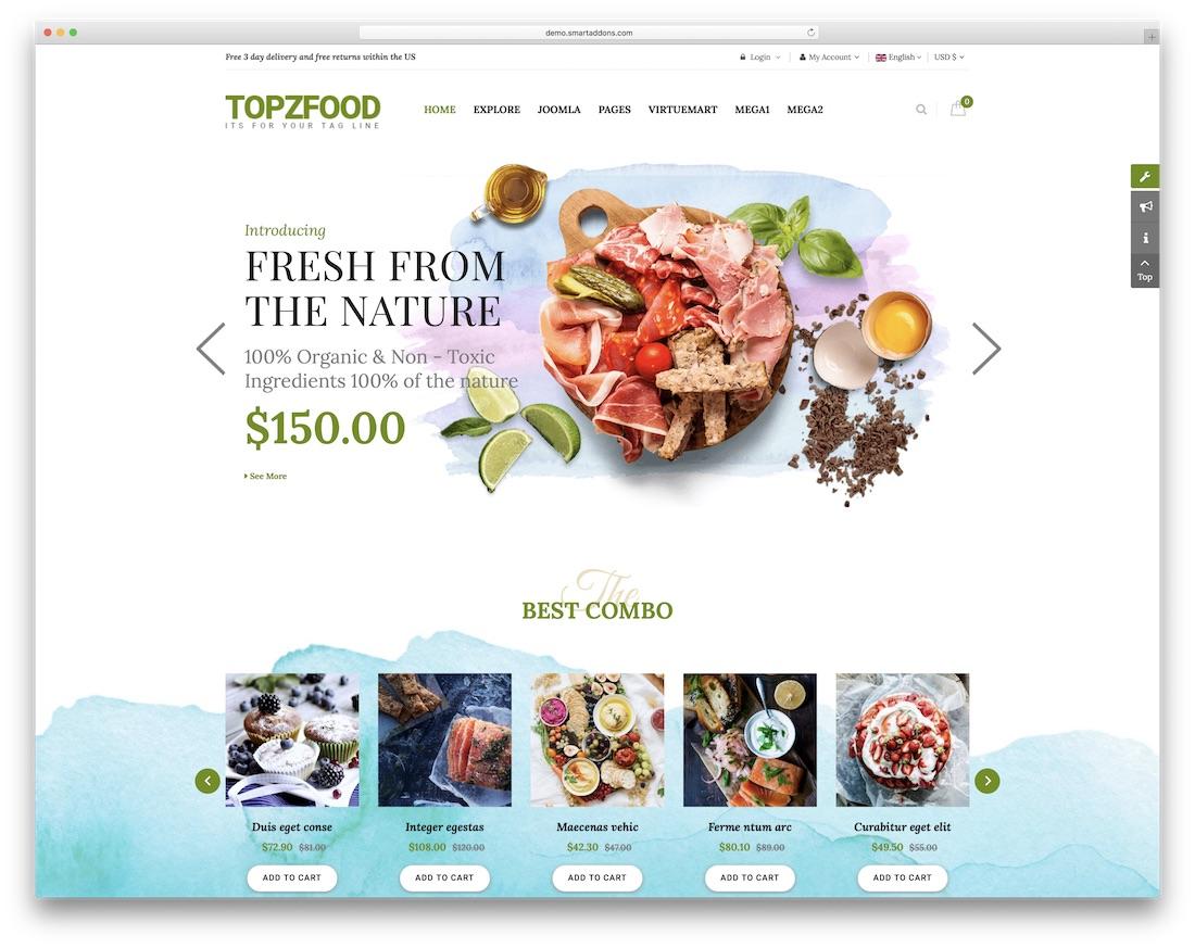 topzfood joomla virtuemart template