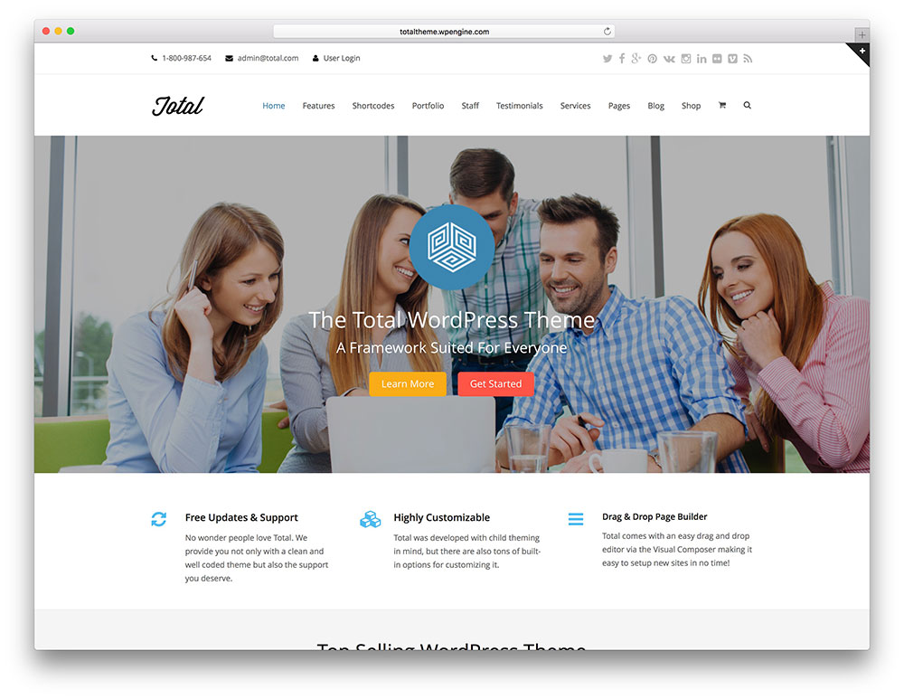 40 wordpress themes for it companies and tech startups 2018 colorlib total wordpress business theme friedricerecipe Image collections