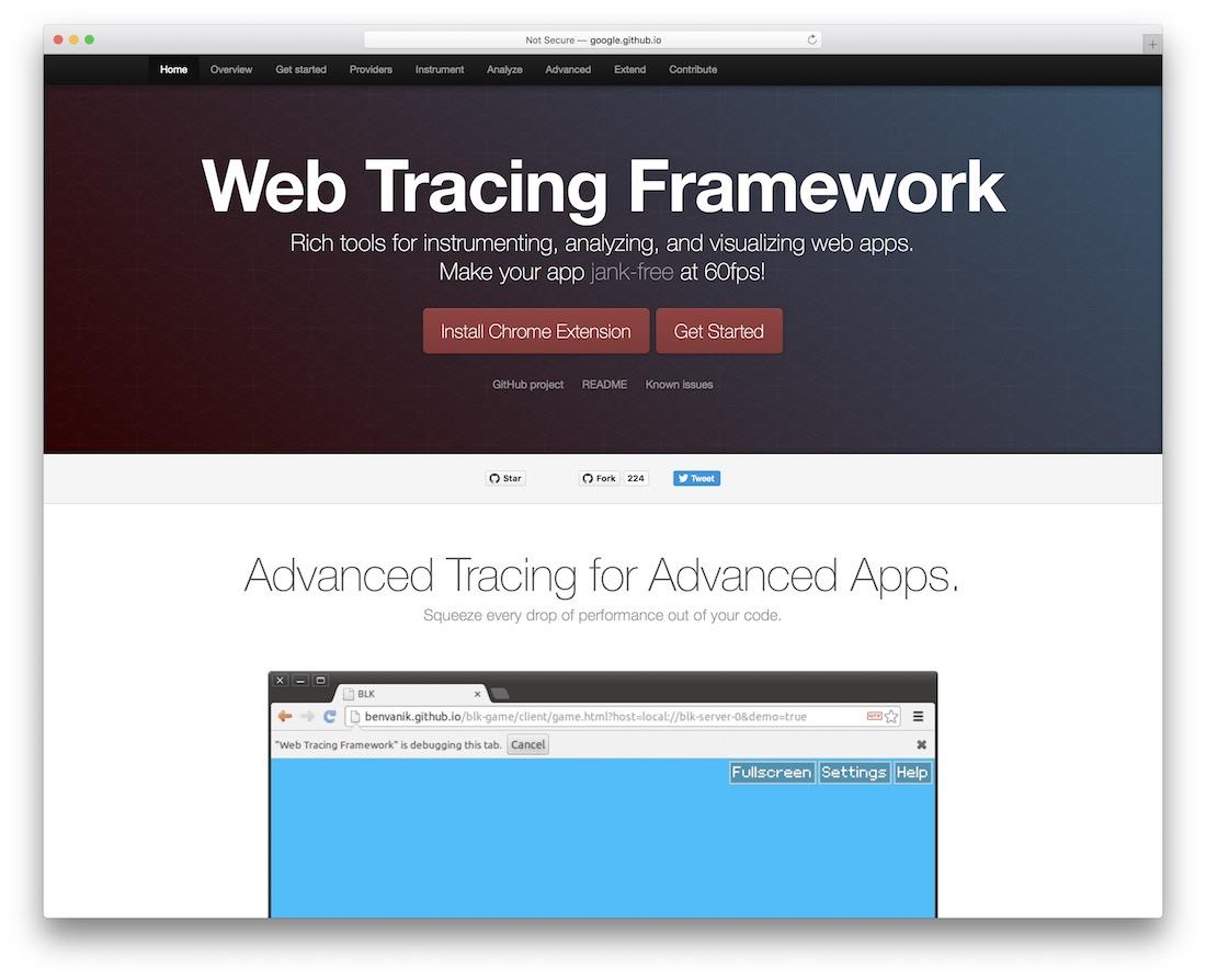 tracing framework website performance tool