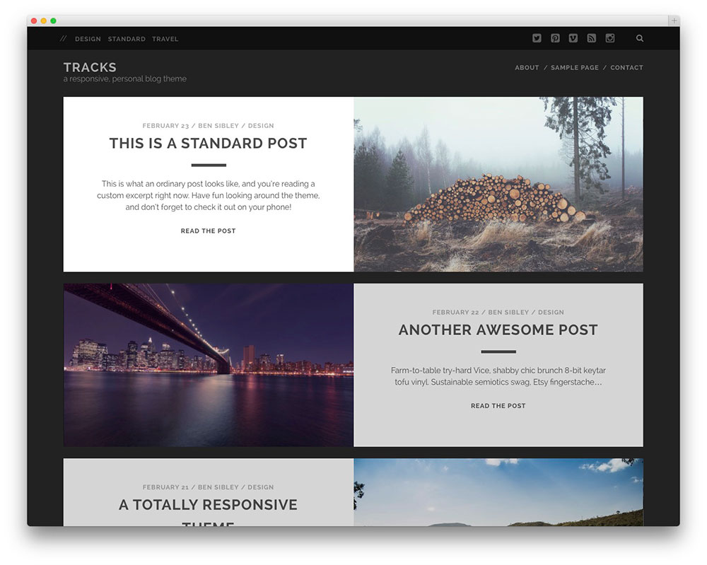 tracks portfolio WP theme