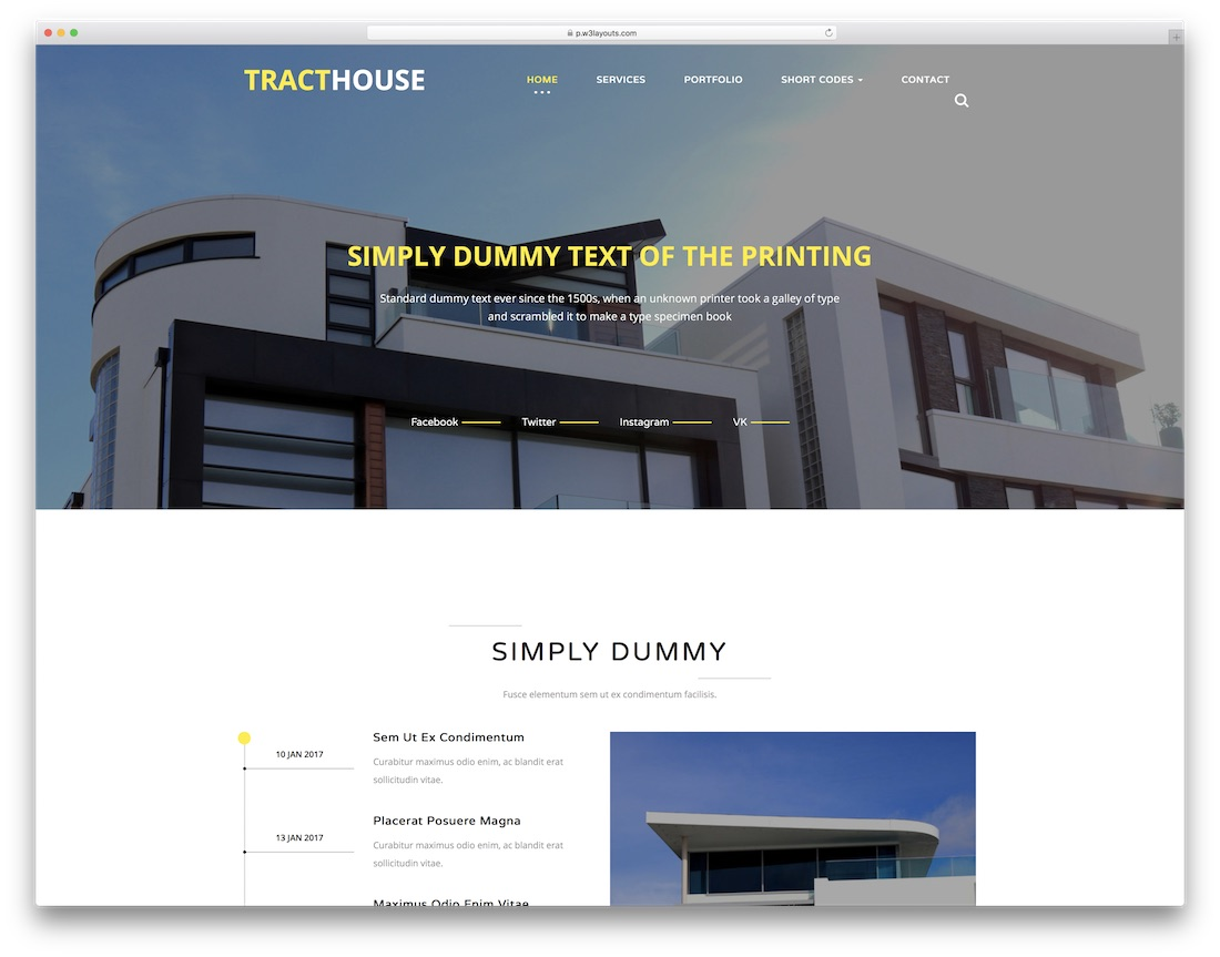 tract house website template