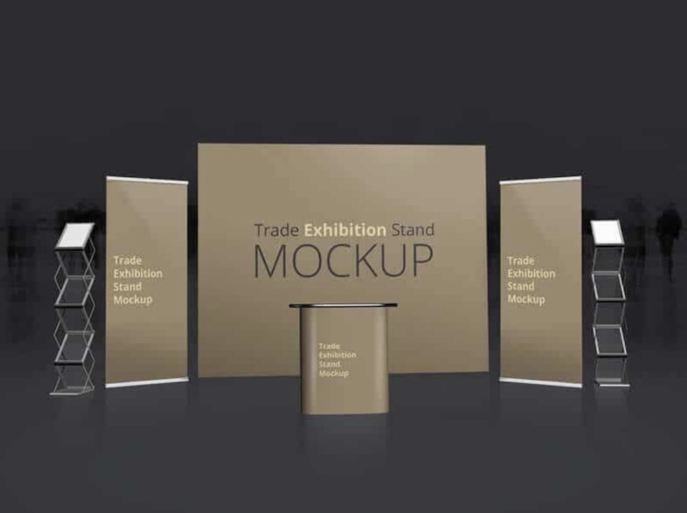 trade exhibition booth mockup psd
