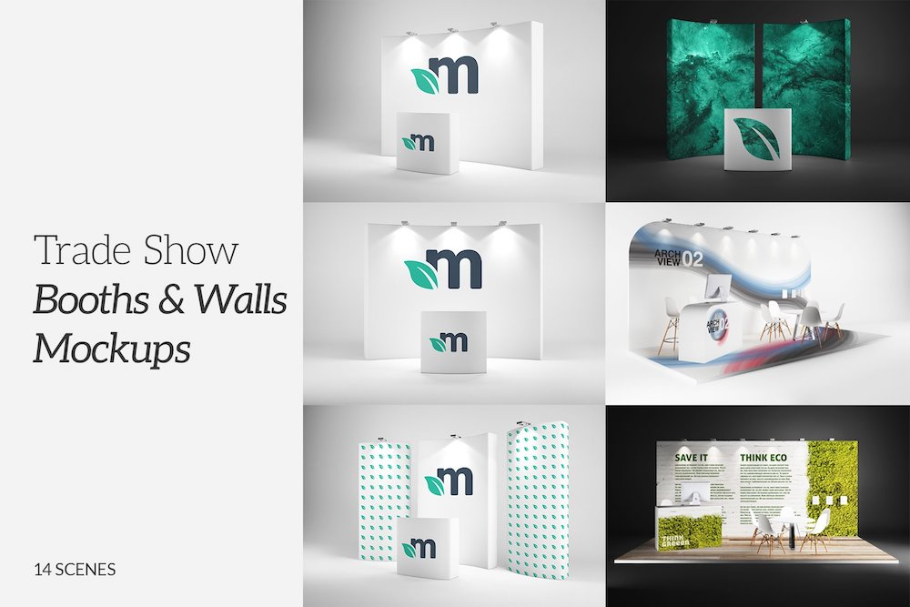 trade show booths walls mockups