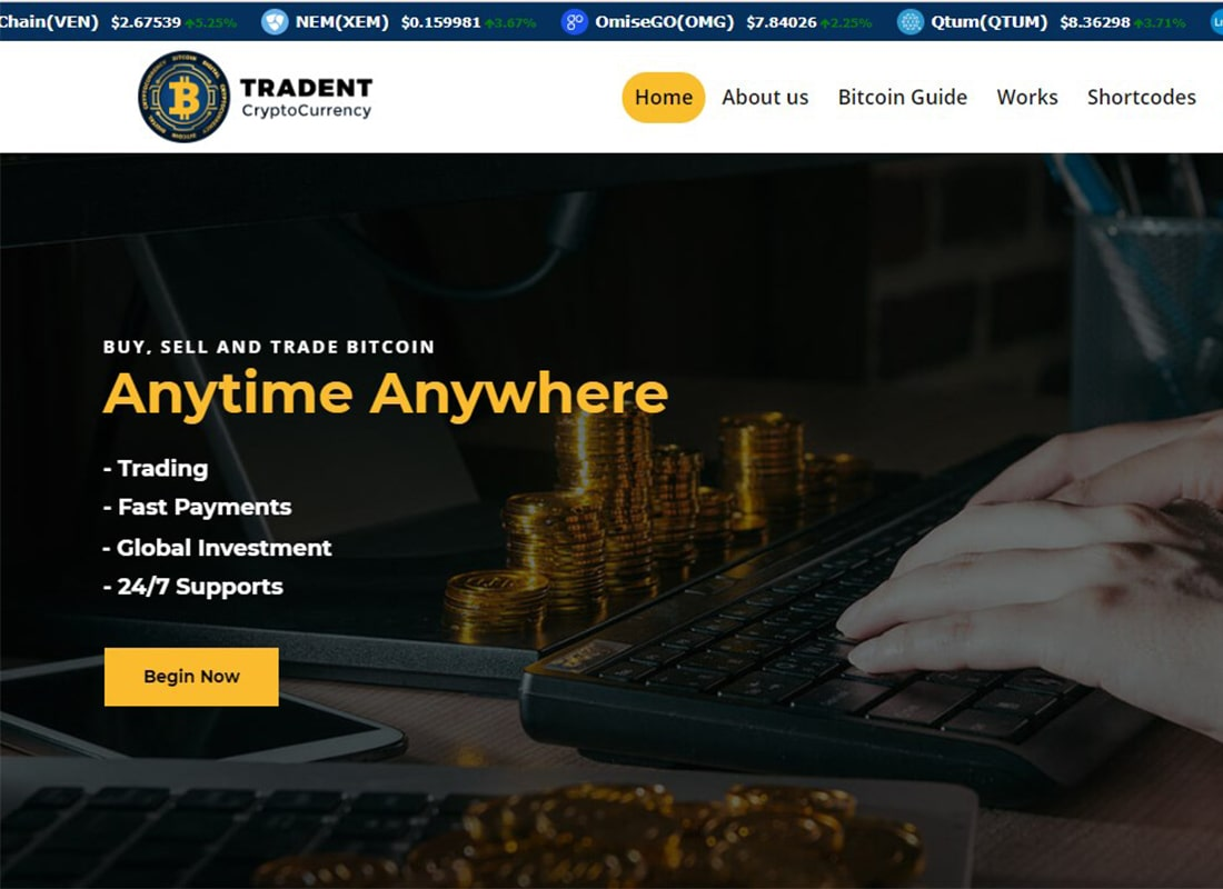Tradent | Bitcoin, Cryptocurrency & Trading WordPress Theme