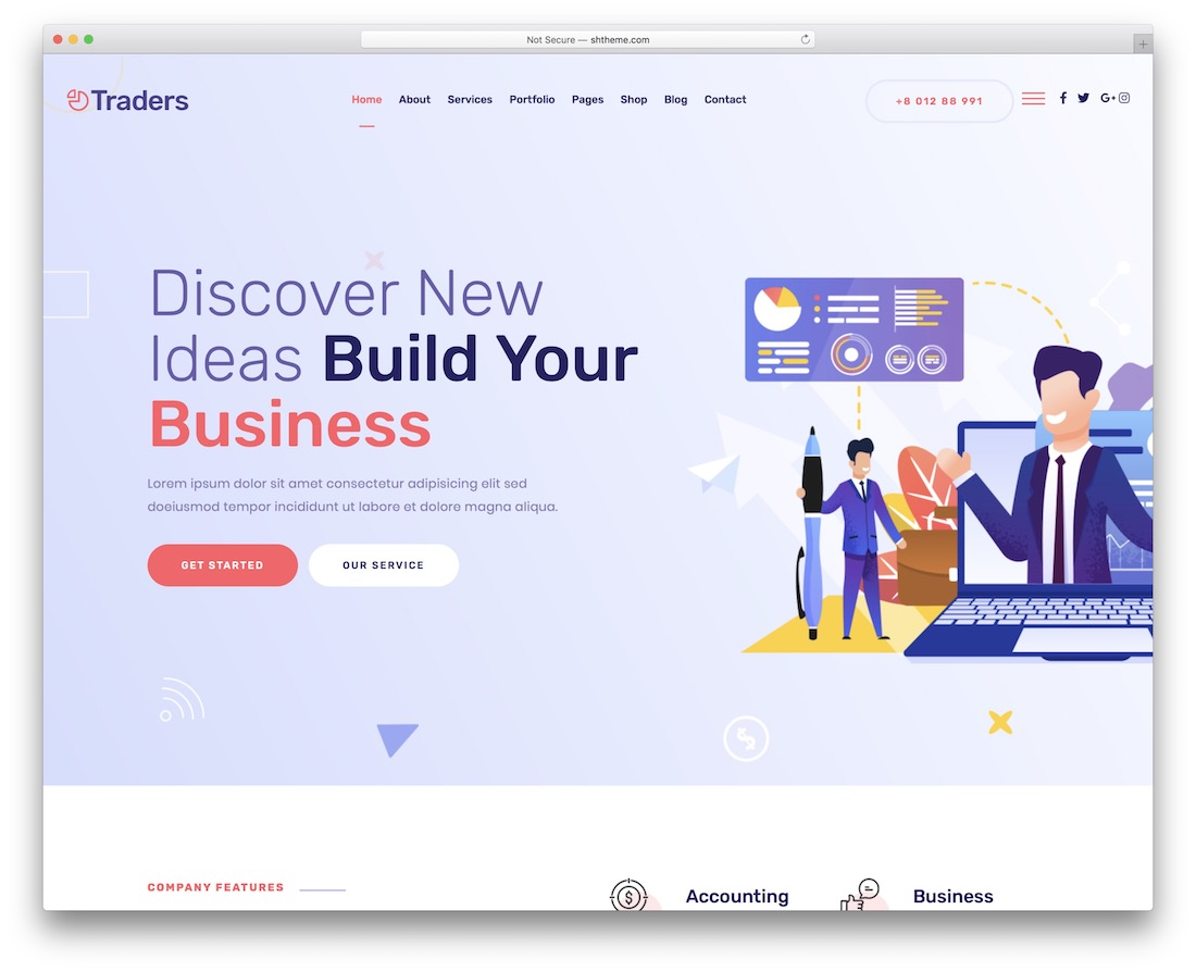 traders startup website template